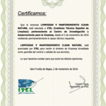 CE-5821-certificado socio ITEL-CLEAN NATURE